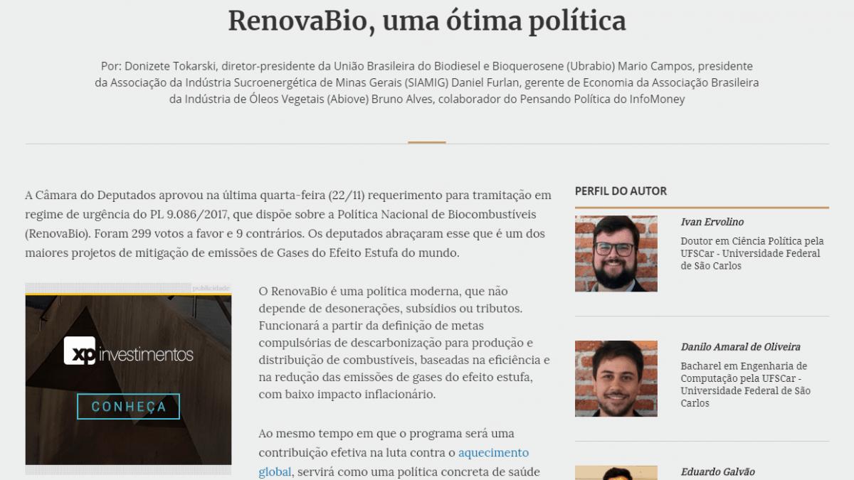 RenovaBio, uma ótima política