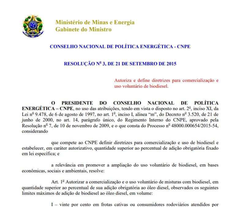 Resolução CNPE nº 3, de 21 de setembro de 2015