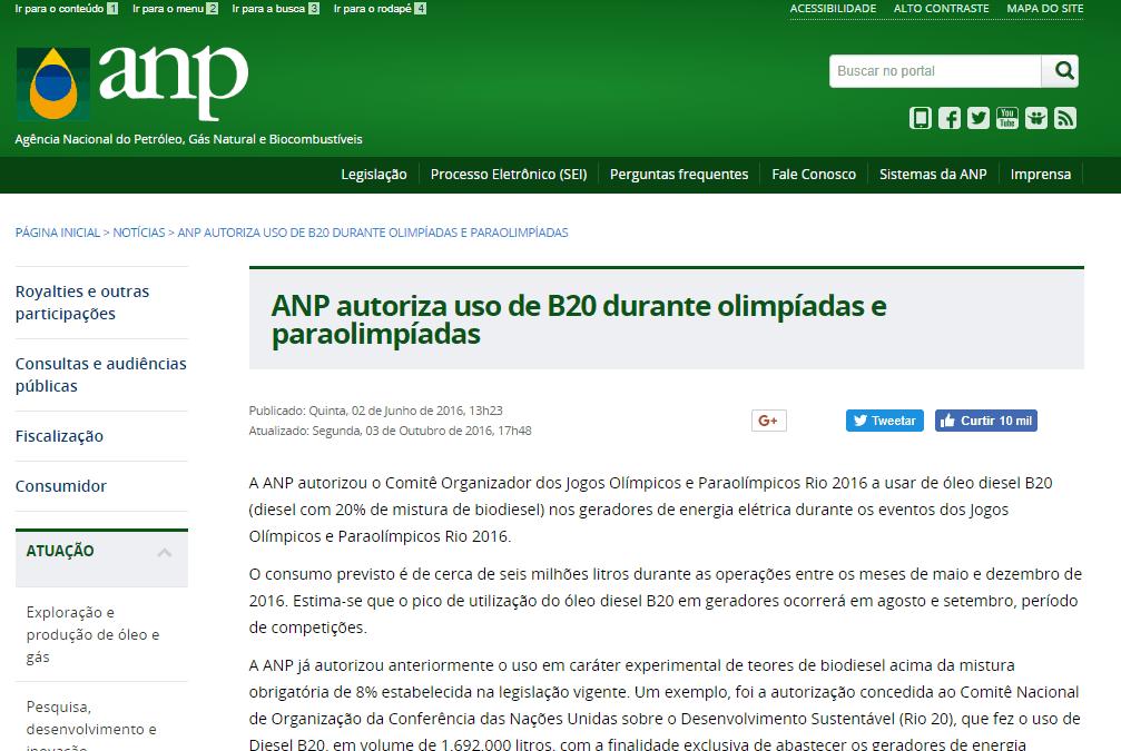 ANP autoriza uso de B20 durante olimpíadas e paraolimpíadas