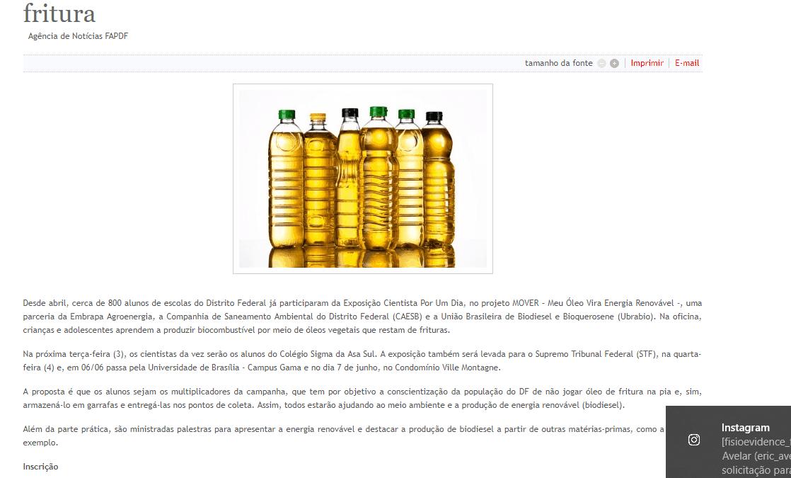 Embrapa divulga biodiesel em instituições do DF