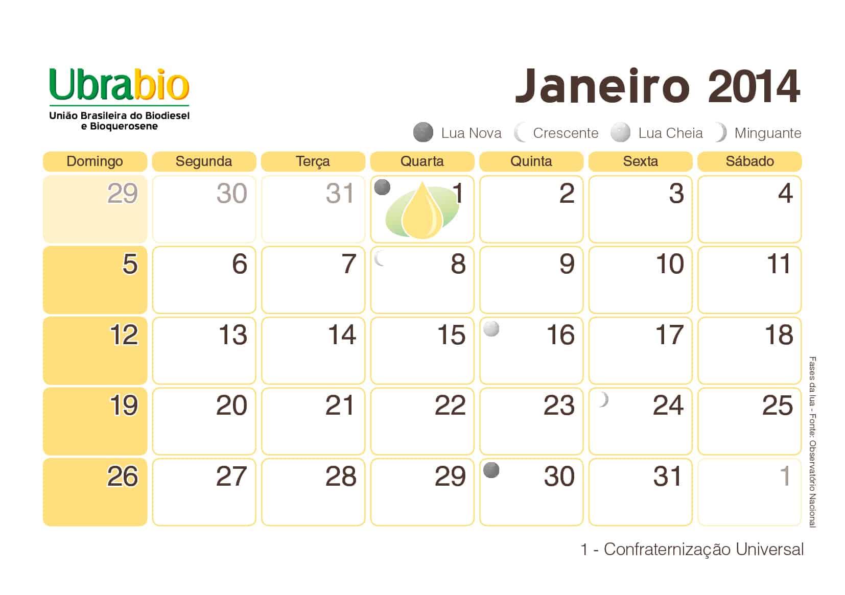 Calendário Ubrabio Jan
