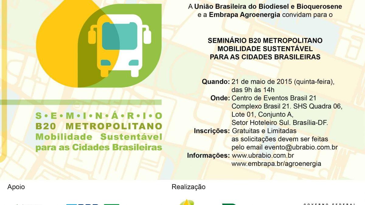 Confira a programação do Seminário B20 Metropolitano – Mobilidade Sustentável para as Cidades Brasileiras