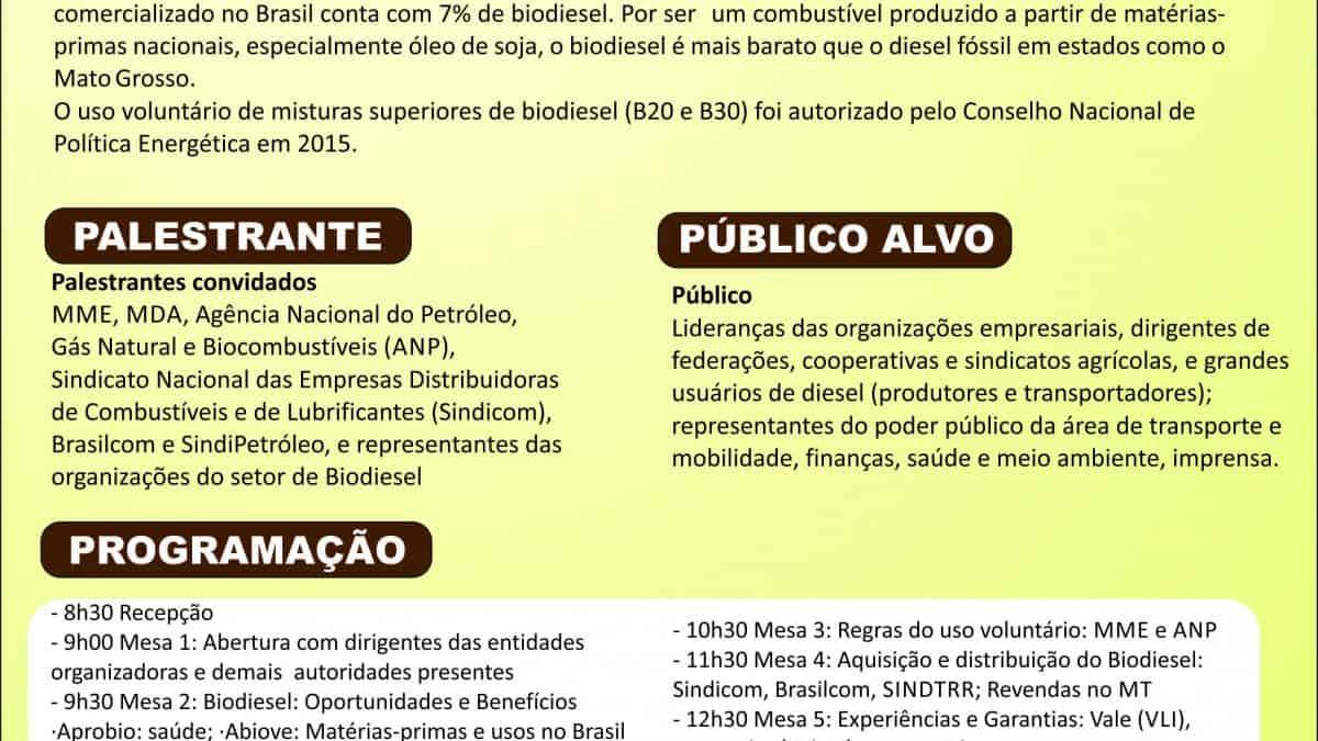 Cuiabá-MT discute uso do biodiesel voluntário