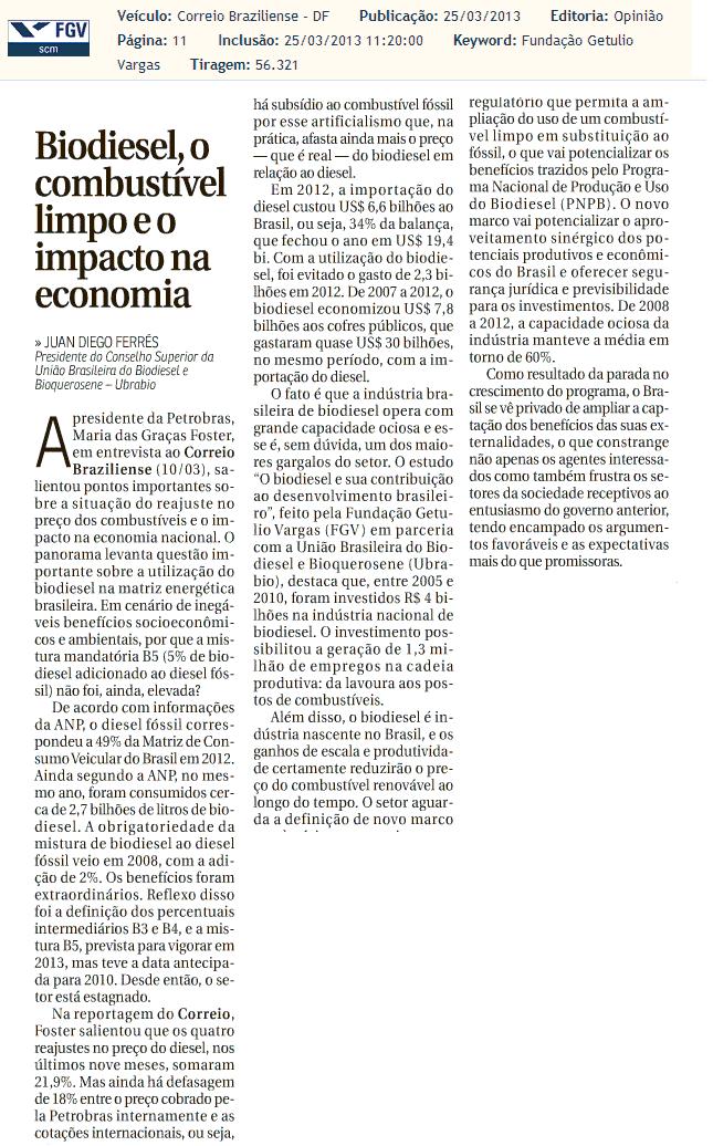 """""""Biodiesel, o combustível limpo e o impacto na economia""""- Artigo de Juan Diego Ferrés"""