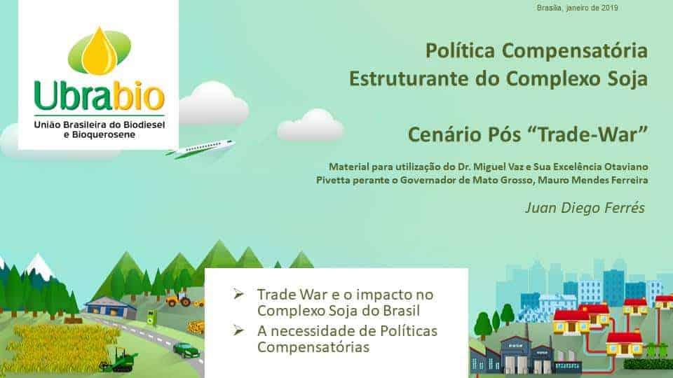 Apresentação Política Compensatória Estruturante do Complexo Soja - Trade War e o impacto no Complexo Soja do Brasil - A necessidade de Políticas Compensatórias