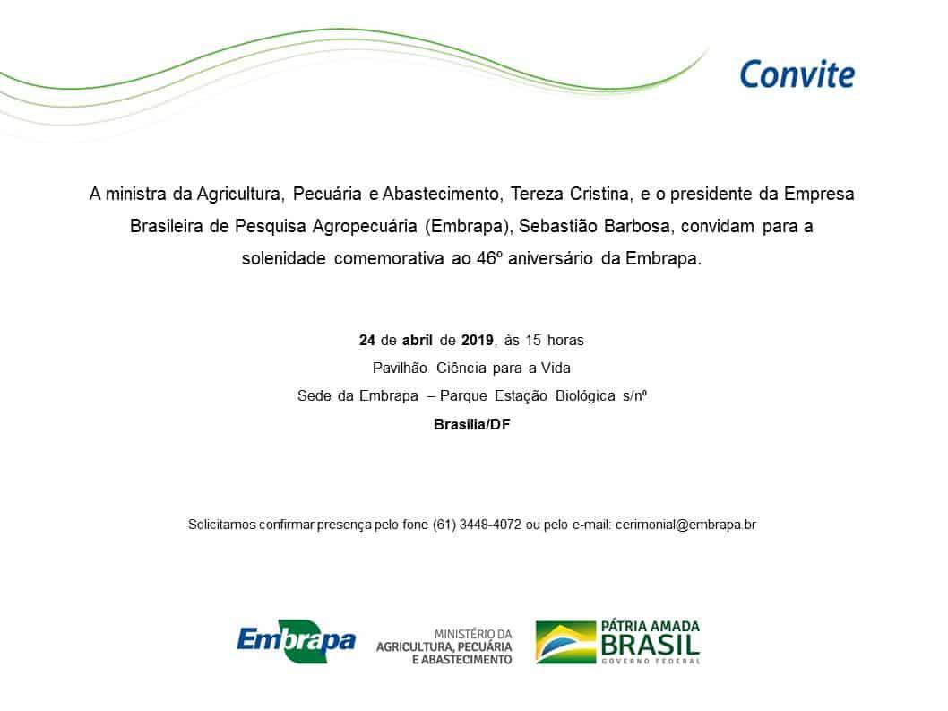 Solenidade comemorativa 46° aniversário da Embrapa @ Brasília-DF