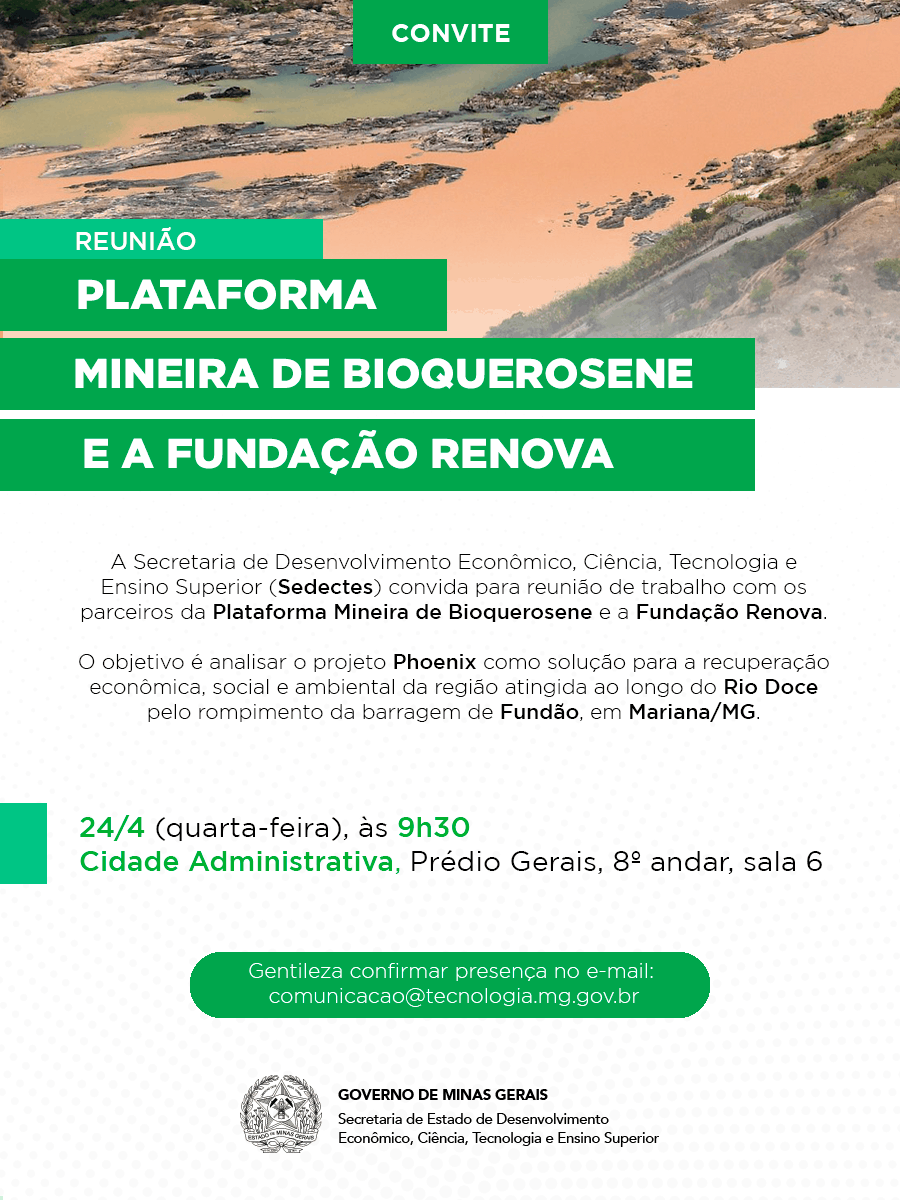 Reunião Plataforma Mineira de Bioquerosene e a Fundação Renova @ Belo Horizonte-MG