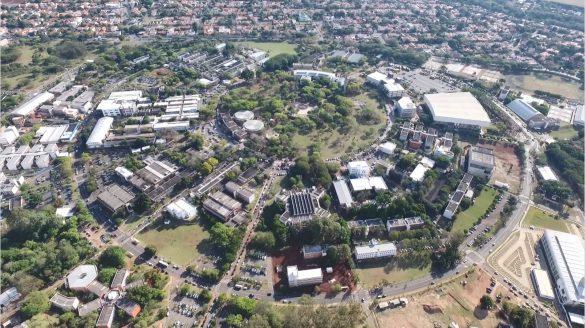 Vista aérea do campus da Unicamp, em Campinas (SP) — Foto: Reprodução/EPTV