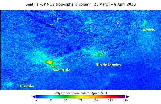 Poluição: Com a quarentena, níveis de NO2 reduziram 33% na Região Metropolitana de São Paulo e em outras capitais do Sul e Sudeste (imagem: Henk Eskes/ KNMI)
