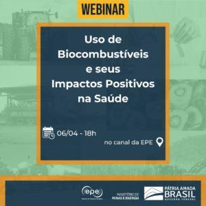 webinar Uso de biocombustíveis e seus impactos positivos sobre a saúde @ Canal Youtube EPE