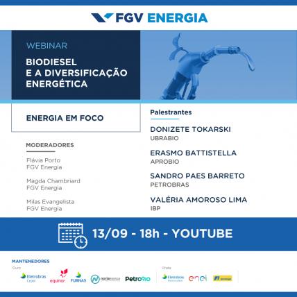 """""""Biodiesel e a diversificação energética"""" é tema de webinar da FGV Energia com participação da Ubrabio"""
