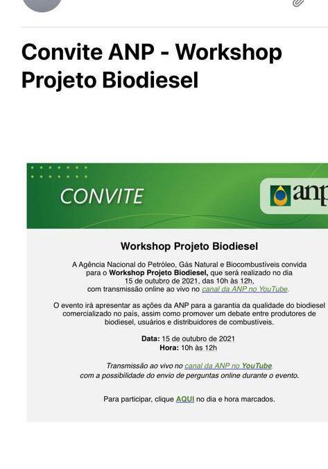 Workshop da ANP debaterá qualidade do biodiesel